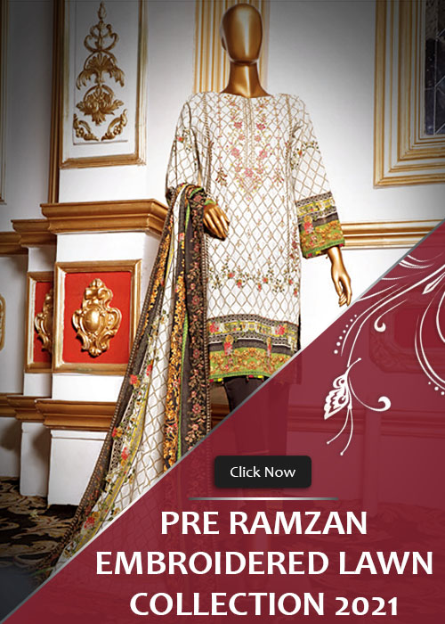 Pre Ramzan Lawn Embroidery Stitched Collection 2021